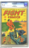 Golden Age (1938-1955):Adventure, Fight Comics #9 (Fiction House, 1940) CGC VF- 7.5 Off-white pages. Art by John Celardo and George Tuska is featured in this ...
