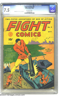 Fight Comics #9 (Fiction House, 1940) CGC VF- 7.5 Off-white pages. Art by John Celardo and George Tuska is featured in t...