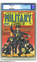 Golden Age (1938-1955):War, Military Comics #13 (Quality, 1942) CGC FN+ 6.5 Off-white pages.Featuring the Blackhawks versus the Butcher. Reed Crandall ...