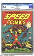 Speed Comics #3 (Harvey, 1939) CGC FN+ 6.5 Off-white pages. An early Shock Gibson cover, with George Tuska art inside. G...