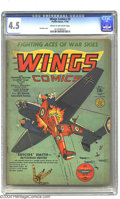 Golden Age (1938-1955):War, Wings Comics #3 (Fiction House, 1940) CGC VG+ 4.5 Cream to off-white pages. Gene Fawcette cover. Fawcette, George Tuska, Kla...