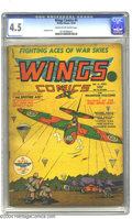 Golden Age (1938-1955):War, Wings Comics #4 (Fiction House, 1940) CGC VG+ 4.5 Cream to off-white pages. Gene Fawcette cover. Fawcette, Klaus Nordling, G...