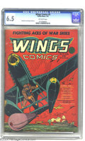 Golden Age (1938-1955):War, Wings Comics #5 (Fiction House, 1941) CGC FN+ 6.5 Off-white pages.Gene Fawcette cover. Fawcette, Klaus Nordling, George Tus...