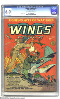 Golden Age (1938-1955):War, Wings Comics #11 (Fiction House, 1941) CGC FN 6.0 Off-white towhite pages. Gene Fawcette cover. Fawcette, Arthur Peddy, and...