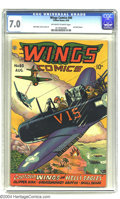 Wings Comics #60 (Fiction House, 1945) CGC FN/VF 7.0 Off-white to white pages. Matt Baker and Lee Elias art. Overstreet...