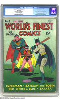 Golden Age (1938-1955):Superhero, World's Finest Comics #3 (DC, 1941) CGC VG- 3.5 Off-white to white pages. Fred Ray's cover art adorned the first five issues...