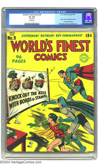 World's Finest Comics #9 (DC, 1943) CGC GD+ 2.5 White pages. The last 100-page issue featured a Jack Burnley cover with...