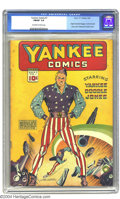 Golden Age (1938-1955):Superhero, Yankee Comics #1 (Chesler, 1941) CGC FN/VF 7.0 Off-white to white pages. Yankee Doodle Jones strikes a dynamic pose on this ...