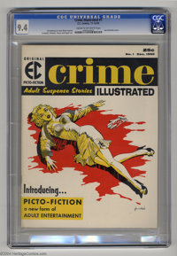 Crime Illustrated #1 (EC, 1955) CGC NM 9.4 Cream to off-white pages. With a palette of a mere four colors (yellow, red...
