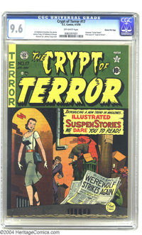 Crypt of Terror #17 Gaines File pedigree (EC, 1950) CGC NM+ 9.6 Cream to off-white pages. A lone woman walks down a spoo...