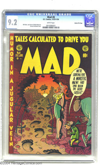 Mad #8 Gaines File pedigree 5/12 (EC, 1953) CGC NM- 9.2 White pages. A well-endowed beauty on this cover is a prelude of...