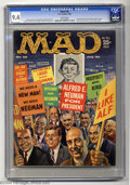 "Magazines:Mad, Mad #56 (EC, 1960) CGC NM 9.4 White pages. ""Alfred E. Neuman for President!"" -- that's the theme of Kelly Freas' wacky but w..."