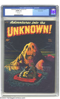 Golden Age (1938-1955):Horror, Adventures Into the Unknown #2 Diamond Run pedigree (ACG, 1949) CGCVF/NM 9.0 White pages. What a menacing-looking mountain ...