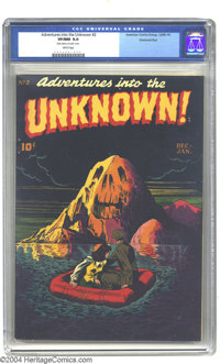 Adventures Into the Unknown #2 Diamond Run pedigree (ACG, 1949) CGC VF/NM 9.0 White pages. What a menacing-looking mount...
