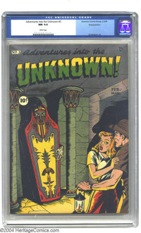 Adventures Into the Unknown #3 Diamond Run pedigree (ACG, 1949) CGC NM 9.4 White pages. Who can resist the lure of enter...