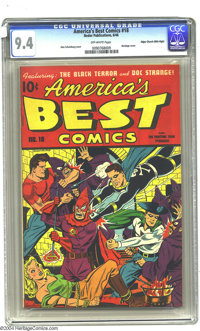 America's Best Comics #18 Mile High pedigree (Nedor Publications, 1946) CGC NM 9.4 Off-white pages. Alex Schomburg turns...