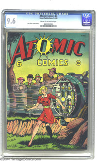 Atomic Comics #4 (Green Publishing Co., 1946) CGC NM+ 9.6 Cream to off-white pages. Take your eyes off of this magnifice...