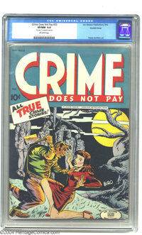 Crime Does Not Pay #33 Double Cover (Lev Gleason, 1942) CGC VF/NM 9.0 Off-white pages. A Charles Biro cover that Overstr...