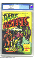 "Golden Age (1938-1955):Horror, Dark Mysteries #1 (Master Publications, 1951) CGC NM- 9.2 Whitepages. This debut issue promising ""Thrilling Tales of Horror..."