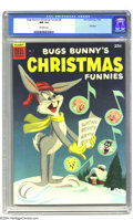 Dell Giant Comics - Bugs Bunny's Christmas Funnies #5 (Dell, 1954) CGC NM 9.4 Off-white pages. What a gorgeous, painted...