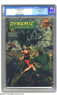 Dynamic Comics #16 Crowley pedigree (Chesler, 1945) CGC VF- 7.5 Cream to off-white pages. Snake torture... headlights an...