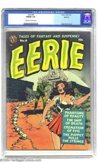 Eerie #4 Spokane pedigree (Avon, 1951) CGC FN/VF 7.0 Off-white to white pages. Wally Wood does it again with this most i...