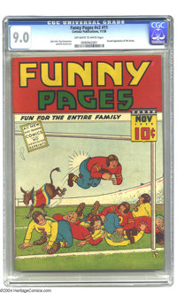 Funny Pages V2#11 (Centaur, 1938) CGC VF/NM 9.0 Off-white to white pages. The Arrow, by Paul Gustavson, makes his second...