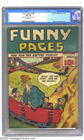 Golden Age (1938-1955):Miscellaneous, Funny Pages V3#8 (Centaur, 1939) CGC VF- 7.5 Off-white pages. A laugh-out-loud funny cover by Max Neill sets the mood for th...