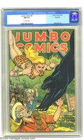 Golden Age (1938-1955):Adventure, Jumbo Comics #87 Big Apple pedigree (Fiction House, 1946) CGC NM 9.4 Off-white pages. The art in this issue is by Matt Baker...