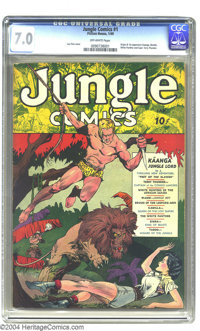 Jungle Comics #1 (Fiction House, 1940) CGC FN/VF 7.0 Off-white pages. This Golden Age key is noted for a number of impor...