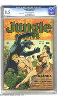 Golden Age (1938-1955):Adventure, Jungle Comics #30 (Fiction House, 1942) CGC VF+ 8.5 Cream to off-white pages. Kaanga leaps to the rescue of a comely jungle ...