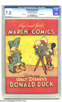 March of Comics #4 Maharajah Donald (K. K. Publications, Inc., 1947) CGC FN/VF 7.0 Off-white to white pages. This scarce...