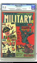 Golden Age (1938-1955):War, Military Comics #2 Larson pedigree (Quality, 1941) CGC VF/NM 9.0Off-white to white pages. Hawkaa! Blackhawk gets the famous...