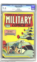 Golden Age (1938-1955):War, Military Comics #34 Rockford pedigree (Quality, 1944) CGC NM 9.4White pages. Al Bryant serves up this tasty cover in the he...