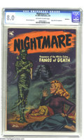 Golden Age (1938-1955):Horror, Nightmare #11 Bethlehem pedigree (St. John, 1954) CGC VF 8.0Off-white to white pages. A great painted cover featuring a kil...
