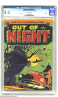 Golden Age (1938-1955):Horror, Out of the Night #1 Bethlehem pedigree (ACG, 1952) CGC VF 8.0Off-white pages. This menacing vampire bat cover is unforgetta...