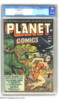 Golden Age (1938-1955):Science Fiction, Planet Comics #25 (Fiction House, 1943) CGC VF+ 8.5 Cream tooff-white pages. This cover by Dan Zolnerowich features a beaut...