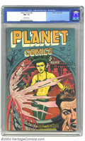 Golden Age (1938-1955):Science Fiction, Planet Comics #49 (Fiction House, 1947) CGC NM- 9.2 Off-whitepages. A dramatic underwater cover with a beautiful but obviou...
