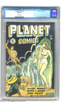 Golden Age (1938-1955):Science Fiction, Planet Comics #56 (Fiction House, 1948) CGC NM 9.4 Off-white pages.This is the highest grade yet assigned by CGC for this i...