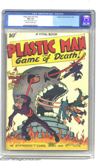 Plastic Man #nn (#1) (Quality, 1943) CGC FN+ 6.5 Off-white to white pages. Jack Cole's Plastic Man stretches out of Poli...