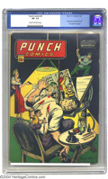 Golden Age (1938-1955):Adventure, Punch Comics #9 (Chesler, 1944) CGC VF- 7.5 Cream to off-white pages. This issue's Gus Ricca cover is a memorably wry commen...