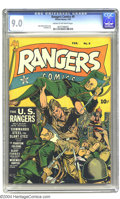 Golden Age (1938-1955):War, Rangers Comics #9 (Fiction House, 1943) CGC VF/NM 9.0 Cream tooff-white pages. The undisputed king of the Fiction House cov...