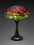 Glass, Tiffany Studios Leaded Glass and Patinated Bronze Oriental Poppy Table Lamp, circa 1...