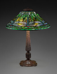 Tiffany Studios Leaded Glass and Patinated Bronze Dragonfly Table Lamp, circa 1910 <
