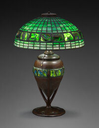 Tiffany Studios Leaded Glass and Patinated Bronze Turtle-Back Table Lamp, circa 1910 Marks to shade: TIFFANY