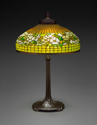 Tiffany Studios Leaded Glass and Patinated Bronze Banded Dogwood Table Lamp, circa 1910 Marks to shade: T