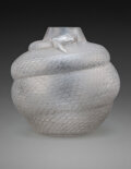 Glass, R. Lalique Frosted Glass Serpent Vase with Gray Patina, circa 1924. Marks: R. L...