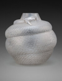 R. Lalique Frosted Glass Serpent Vase with Gray Patina, circa 1924 Marks: R. LALIQUE 10-1/4 inches (26 cm)