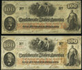 Confederate Notes:1862 Issues, T41 $100 1862 PF-20 Cr. 316A XF;. T41 $100 1862 PF-20 Cr. 316A Fine-VF.. ... (Total: 2 notes)