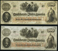 Confederate Notes:1862 Issues, T41 $100 1862 PF-10 Cr. 315A Choice CU;. T41 $100 1862 PF-12 Cr. 317A Choice AU.. ... (Total: 2 notes)
